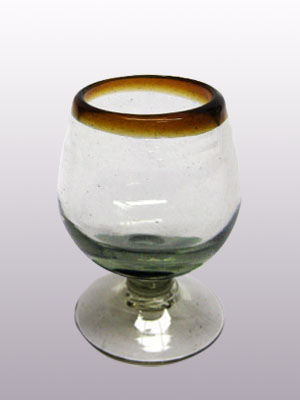 MEXICAN GLASSWARE / 'Amber Rim' small cognac glasses (set of 6)